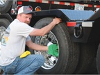 Doug Jameson of J&L Contracting applies a little elbow grease to