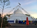 Evening falls on the  Big Top 360  event space after close of Day 2 of