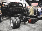 Here s a closer look at the dual rear wheels of the Silverado 4500HD.