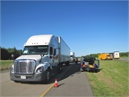 Trucks line up for testing of various combinations of engines and