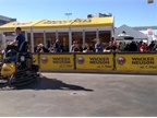 Attendees watched colleagues compete in operating power trowels, which