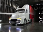 The Freightliner Revolution concept truck features many aerodynamic