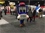 Safety Sammy, Trucking Moves America Forward mascot, makes the rounds