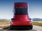 "There's no engine up front. Instead, the Semi's ""hood"" opens up to reveal a luggage and storage bay. Photo: Tesla"