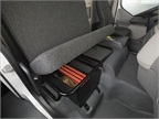 A lockable compartment under the bench seat offers additional secure
