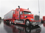 Some truckers braved the rain and tornado warnings to make the first