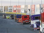 The truck parade around Charlotte Motor Speedway, prior to the NASCAR