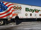 Baylor Trucking President Robert Baylor presents the trailer which