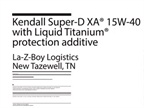 La-Z-Boy Logistics thrives on Super-D XA motor oil