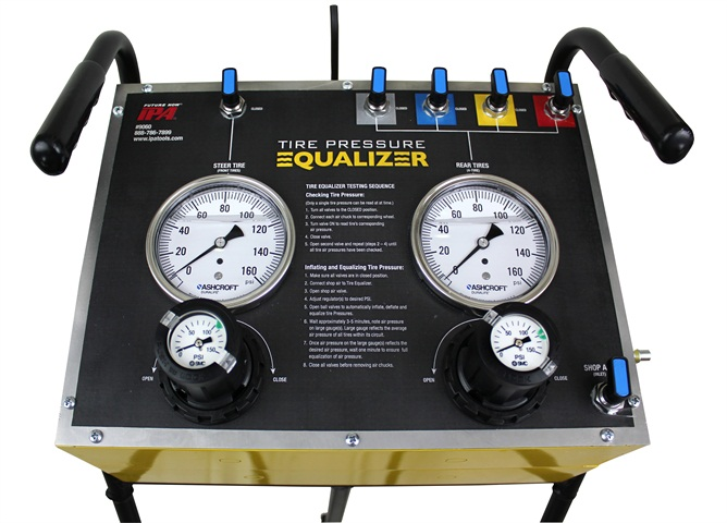 The Mobile Tire Pressure Equalizer is designed to quickly inflate or