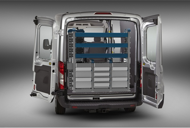 SmartSpace Cargo Management System features stackable shelf units, designed for use in the new high-cube cargo vans coming to market within the next 18 months.