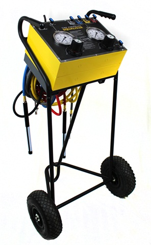 The Mobile Tire Pressure Equalizer is mounted on a welded steel cart with pneumatic tires and features wheel-specific color-coded hoses with corresponding panel indicators and convenient hose hangers.