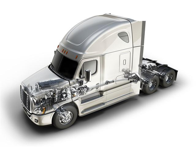 <p>Freightliner Cascadia Evolution featuring new integrated Detroit powertrain. Graphic: DTNA</p>