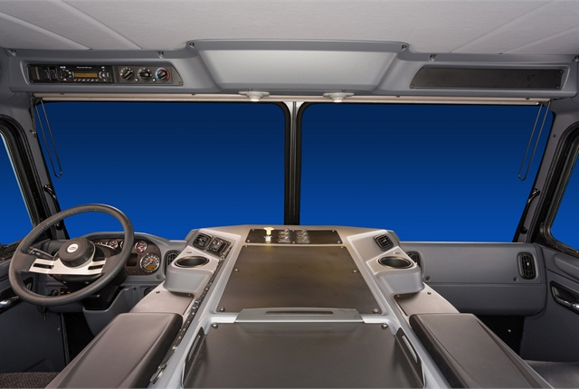 <p>The Model 320 interior underwent a floor-to-ceiling re-design, beginning with the new ergonomic dash layout.</p>