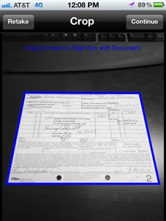After taking a photo of the document, even if it is taken at an angle, TriPak Mobile automatically crops the document.