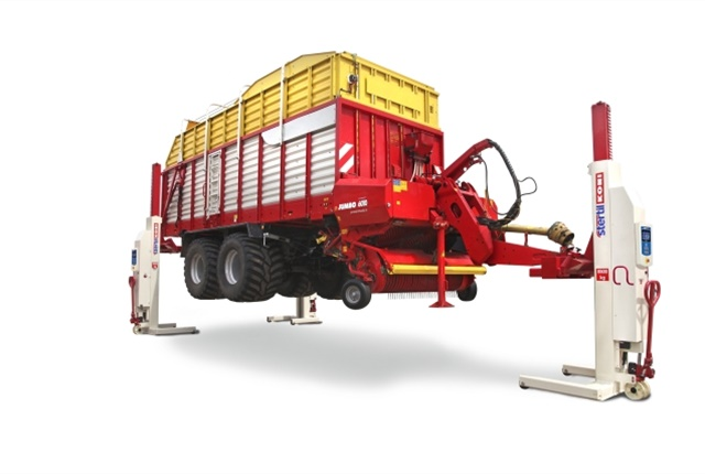 For those in agribusiness, the Stertil-Koni 920 multipurpose fork adapter addresses the special lifting needs of tractors and related equipment. Agricultural multipurpose adapters have a capacity of up to 22,000 lbs. per adapter. (Photo: Stertil-Koni)
