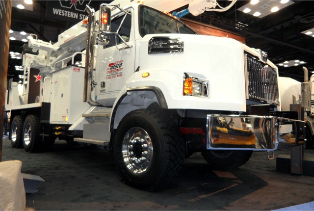 <p>Western Star 4700SB 6x6 is displayed at the Work Truck Show in Indianapolis. It's also available as a 4x4.</p>