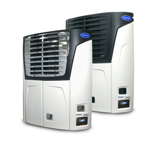 <p>New X4 Series single-temperature trailer refrigeration units from Carrier Transicold include the model 7500, foreground with optional chrome package, and the model 7300.</p>