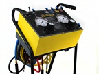 The Mobile Tire Pressure Equalizer is mounted on a welded steel cart